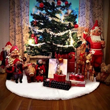 AWLGAK Gonna Albero di Natale, 90 cm soffice Neve Bianco Natale Decorazioni Albero di Natale Vacanze gonne - 5