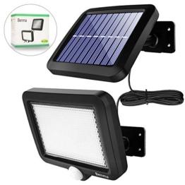 Benma - Lampade solari da esterni, luci solari da giardino con sensore di movimento, angolo di illuminazione 120°, 5 m, impermeabile, lampada da parete per giardino(cavo 16,5 ft) - 1