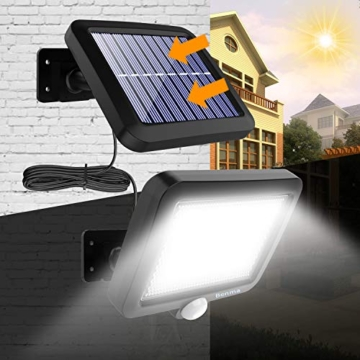 Benma - Lampade solari da esterni, luci solari da giardino con sensore di movimento, angolo di illuminazione 120°, 5 m, impermeabile, lampada da parete per giardino(cavo 16,5 ft) - 6