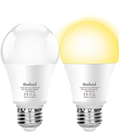 Boxlood Lampadina con Sensore Crepuscolare E27 LED da Esterno 9W Bianco caldo 3000K, Auto On/Off, per Veranda Giardino Porta d'ingresso Corridoio, 2 Pezzis - 1
