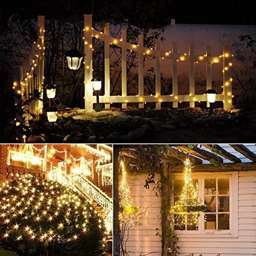 Catena Luminosa Solare, 20M Stringa Luci Solari 200 LED / 8 Modi, Impermeabili Luci Decorative da Interni e Esterni per Festa, Giardino, Natale, Halloween, Matrimonio (Bianco Caldo-5) - 1