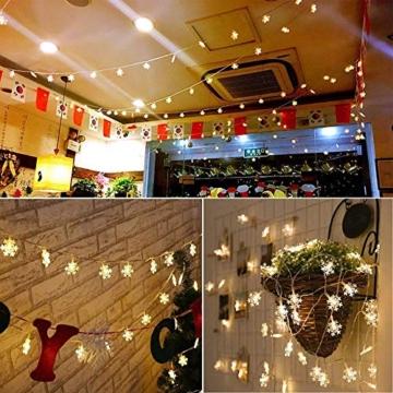 Catena Luminosa,Led Fiocco Di Neve Catena Luci,Natalizie A Forma Di Fiocco,Stringa Fata Luce,Per La Decorazione Casa Natale Partito - 7