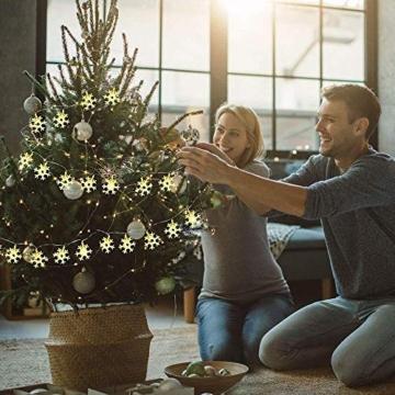 Catena Luminosa,Led Fiocco Di Neve Catena Luci,Natalizie A Forma Di Fiocco,Stringa Fata Luce,Per La Decorazione Casa Natale Partito - 8
