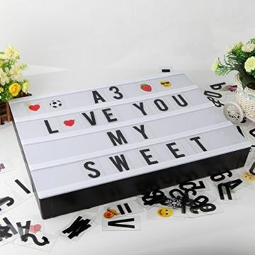 Cinematic, scatola luminosa con 150 lettere, numeri ed emoji, formato A3, segnale LED per la decorazione della casa, festa di Natale, matrimonio, compleanno, regalo ideale di Natale - 2