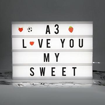 Cinematic, scatola luminosa con 150 lettere, numeri ed emoji, formato A3, segnale LED per la decorazione della casa, festa di Natale, matrimonio, compleanno, regalo ideale di Natale - 4