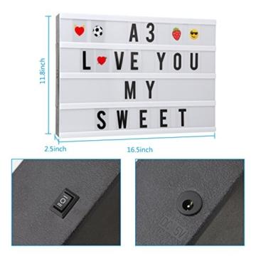 Cinematic, scatola luminosa con 150 lettere, numeri ed emoji, formato A3, segnale LED per la decorazione della casa, festa di Natale, matrimonio, compleanno, regalo ideale di Natale - 5