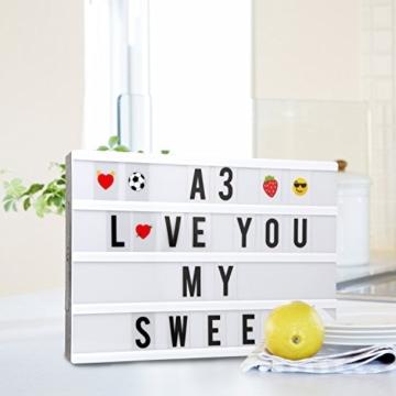 Cinematic, scatola luminosa con 150 lettere, numeri ed emoji, formato A3, segnale LED per la decorazione della casa, festa di Natale, matrimonio, compleanno, regalo ideale di Natale - 6
