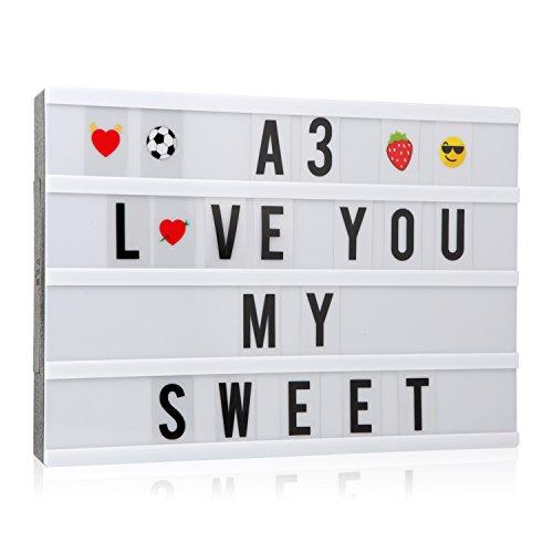 Cinematic, scatola luminosa con 150 lettere, numeri ed emoji, formato A3, segnale LED per la decorazione della casa, festa di Natale, matrimonio, compleanno, regalo ideale di Natale - 1