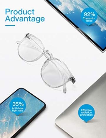 CNLO - Occhiali per computer, protezione dalle radiazioni, protezione dai raggi UV, antiocchiali, lenti con montatura leggera, per uomo/donna cristallo. - 7
