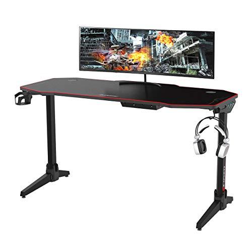Computer Gioco Scrivania - con luci LED colorate e grande postazione di lavoro per videogiochi con tappetino per mouse da scrivania, gancio per cuffie, portabicchieri - 1