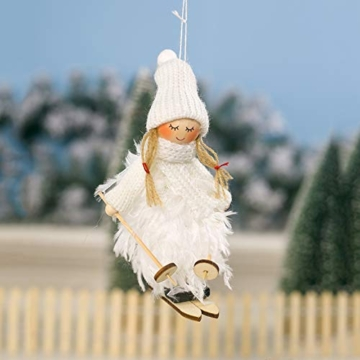 Decorazione natalizia originale Makone (bambola da sci in piume con slitta e sciarpa e cappello) per albero di Natale e festa di compleanno e decorazioni per la casa, festa, vacanza (4 pezzi) - 2