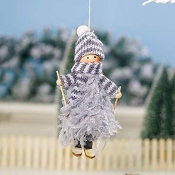 Decorazione natalizia originale Makone (bambola da sci in piume con slitta e sciarpa e cappello) per albero di Natale e festa di compleanno e decorazioni per la casa, festa, vacanza (4 pezzi) - 3