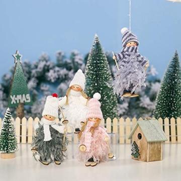 Decorazione natalizia originale Makone (bambola da sci in piume con slitta e sciarpa e cappello) per albero di Natale e festa di compleanno e decorazioni per la casa, festa, vacanza (4 pezzi) - 4