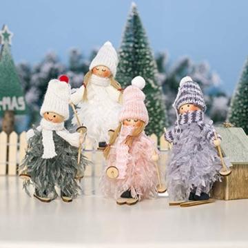 Decorazione natalizia originale Makone (bambola da sci in piume con slitta e sciarpa e cappello) per albero di Natale e festa di compleanno e decorazioni per la casa, festa, vacanza (4 pezzi) - 1