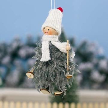 Decorazione natalizia originale Makone (bambola da sci in piume con slitta e sciarpa e cappello) per albero di Natale e festa di compleanno e decorazioni per la casa, festa, vacanza (4 pezzi) - 5