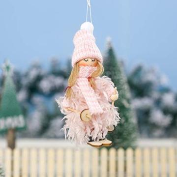 Decorazione natalizia originale Makone (bambola da sci in piume con slitta e sciarpa e cappello) per albero di Natale e festa di compleanno e decorazioni per la casa, festa, vacanza (4 pezzi) - 6
