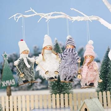 Decorazione natalizia originale Makone (bambola da sci in piume con slitta e sciarpa e cappello) per albero di Natale e festa di compleanno e decorazioni per la casa, festa, vacanza (4 pezzi) - 7