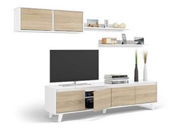 Dmora Parete Attrezzata per Soggiorno, Set Salotto TV con mensole e Mobile pensile, Rovere e Bianco Lucido, 200 x 41 x 85 cm, UNICO - 2