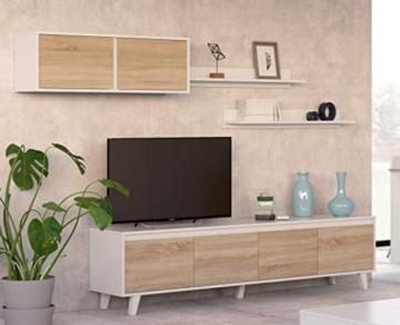 Dmora Parete Attrezzata per Soggiorno, Set Salotto TV con mensole e Mobile pensile, Rovere e Bianco Lucido, 200 x 41 x 85 cm, UNICO - 3
