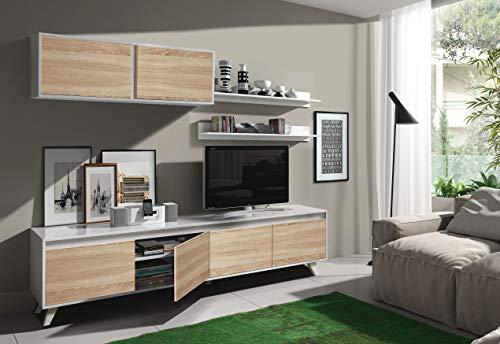 Dmora Parete Attrezzata per Soggiorno, Set Salotto TV con mensole e Mobile pensile, Rovere e Bianco Lucido, 200 x 41 x 85 cm, UNICO - 1
