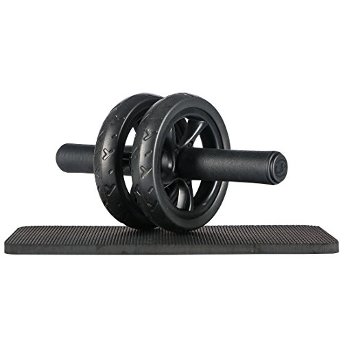 Ultrasport Trainer AB Wheel, Roller e Ruota per Addominali, Ottimo come Attrezzo per il Fitness, Supporto una Dieta Dimagrante, Doppie Rotelle e Base di Appoggio per le Ginocchia, Nero, Taglia Unica - 1