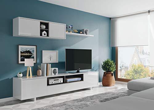 EGLEMTEK Parete Attrezzata Swiss Mobile Soggiorno TV con Mensola Salotto Legno Base Televisione Sala da Pranzo Design Moderno 200 x 41 x 46 cm Colore Bianco - 1