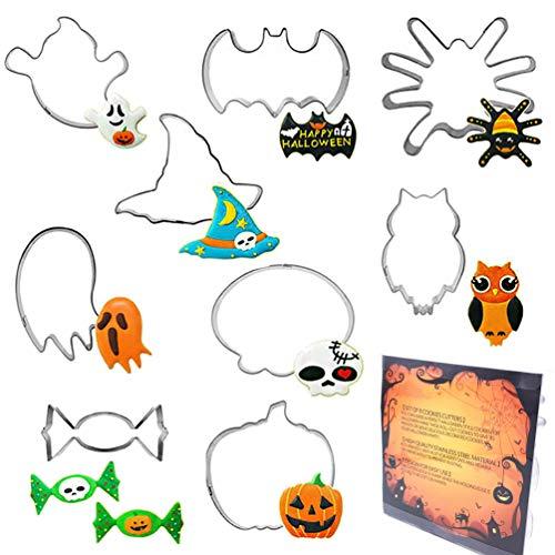 ElecMotive Set di 9 Halloween Formine per Biscotti Acciaio Inox Stampi Biscotti DIY Decorazioni Dolci Biscotti - 1