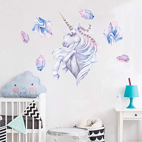 EXTSUD Adesivo Murale Bambini Wall Stickers Unicorno con Strass Cartone Animato Autoadesivo Adesivi Murales da Parete Stickers Decorazioni per Camerette Bambini Soggiorno Casa Asilo Aula - 1