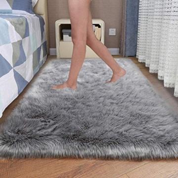 Faux pelliccia di agnello di pecora tappeto, HEQUN pelliccia sintetica decorativa Soffice Pelliccia di agnello imitazione Tappeto Longhair effetto pelliccia divano letto (Grey, 75 X 120 CM) - 3