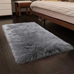 Faux pelliccia di agnello di pecora tappeto, HEQUN pelliccia sintetica decorativa Soffice Pelliccia di agnello imitazione Tappeto Longhair effetto pelliccia divano letto (Grey, 75 X 120 CM) - 1