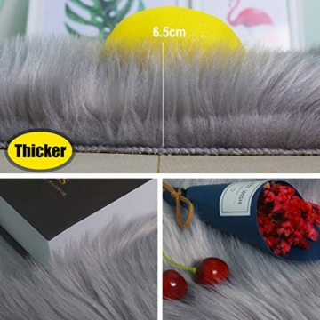 Faux pelliccia di agnello di pecora tappeto, HEQUN pelliccia sintetica decorativa Soffice Pelliccia di agnello imitazione Tappeto Longhair effetto pelliccia divano letto (Grey, 75 X 120 CM) - 5