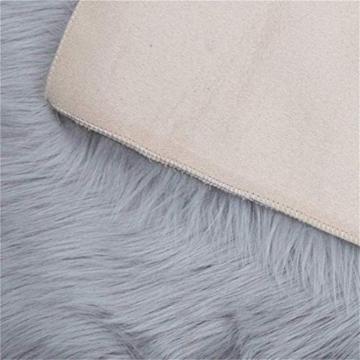 Faux pelliccia di agnello di pecora tappeto, HEQUN pelliccia sintetica decorativa Soffice Pelliccia di agnello imitazione Tappeto Longhair effetto pelliccia divano letto (Grey, 75 X 120 CM) - 6