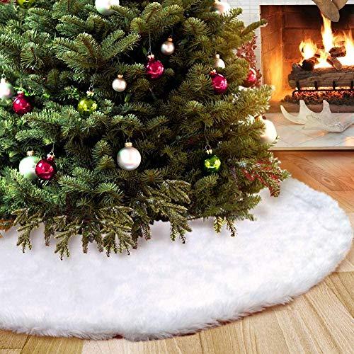 Foho Gonna Albero di Natale, Bianco Tappeto Albero di Natale Gonna Base Tappetino Copertura per Albero di Natale Decorazione Capodanno casa Festa Forniture (78 cm / 30.71 Pollice) - 1