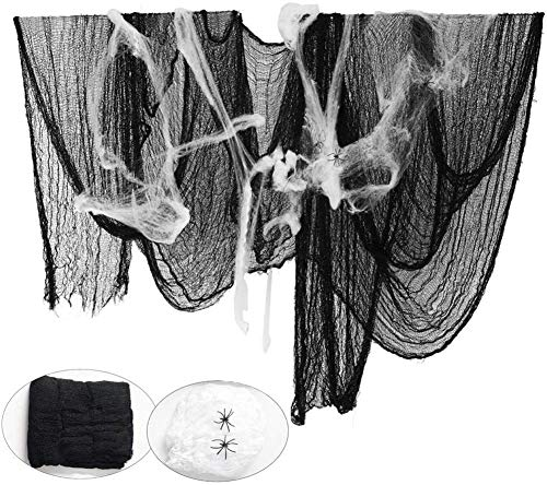 Garza Nera per Halloween, Bst4U Ghost Festival Halloween Garza di Cotone Poliestere Grande Griglia Decorazione 84,65 * 196,85 Pollici+2 Pezzi Cotone Ragno+4 Pezzi Ragno (Nero) - 1