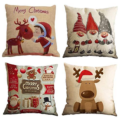 Gspirit Buon Natale Bellissimo Babbo Alce 4 Pack Cuscini per divani Decorativo Cotone Biancheria Cuscino copricuscini Divano Caso Federa per Cuscino - 1
