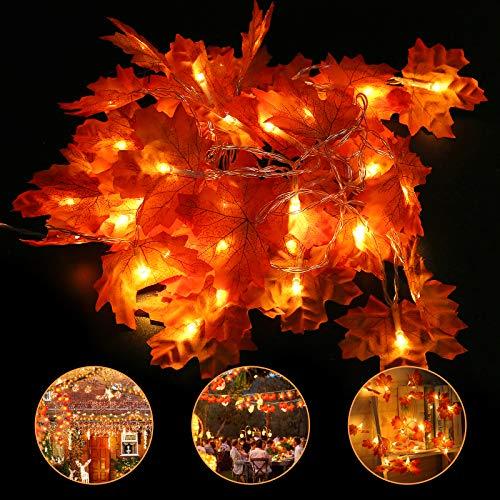 Halloween caduta foglia d'acero decorazione luce 6 m 40 LED autunno impermeabile ghirlanda stringa luce per festa del Ringraziamento, Natale, festa di casa, feste in interni ed esterni - 1