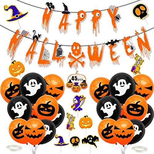 Halloween Decorazioni, Halloween Palloncini Decorazioni, Halloween Decorazioni per Le Feste, Decorazione Halloween Palloncini, Happy Halloween Banner, per Casa Stregata Party Decorazioni - 1