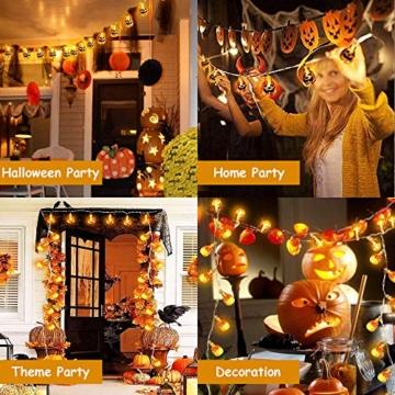 Halloween Luci Stringa, Luci Zucca Halloween Luminosa Luci Decorative, Alimentazione a Batteria e USB, 3M 20 LED Zucca Luci Della Stringa per Casa Cortili Festa Giardino Halloween Decorazione - 6