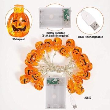 Halloween Luci Stringa, Luci Zucca Halloween Luminosa Luci Decorative, Alimentazione a Batteria e USB, 3M 20 LED Zucca Luci Della Stringa per Casa Cortili Festa Giardino Halloween Decorazione - 7