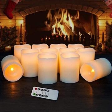 Hausware Candele a LED Candele Senza Fiamma Set di 12 (7,5 cm x 10 cm) Flameless LED Candles con Telecomando e Timer Candele a Batteria Luce Decorativa per Natale Matrimonio Casa Decorazioni - 2