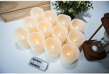 Hausware Candele a LED Candele Senza Fiamma Set di 12 (7,5 cm x 10 cm) Flameless LED Candles con Telecomando e Timer Candele a Batteria Luce Decorativa per Natale Matrimonio Casa Decorazioni - 4