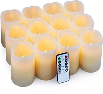 Hausware Candele a LED Candele Senza Fiamma Set di 12 (7,5 cm x 10 cm) Flameless LED Candles con Telecomando e Timer Candele a Batteria Luce Decorativa per Natale Matrimonio Casa Decorazioni - 1