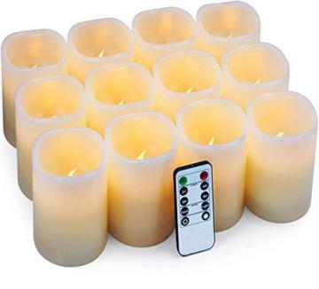 Hausware Candele a LED Candele Senza Fiamma Set di 12 (7,5 cm x 10 cm) Flameless LED Candles con Telecomando e Timer Candele a Batteria Luce Decorativa per Natale Matrimonio Casa Decorazioni - 8