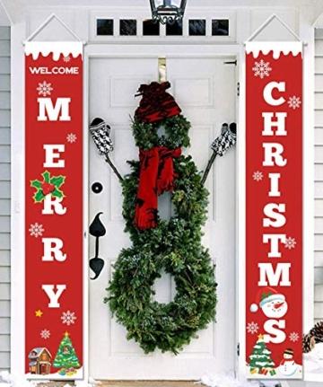 heekpek 2 Pezzi Banner di Natale Benvenuto Buon Natale Portico Segno Banner Distico di Natale Casa Porta Benvenuto Natale Porta Decor Outdoor Indoor Decorazioni Natalizie - 2