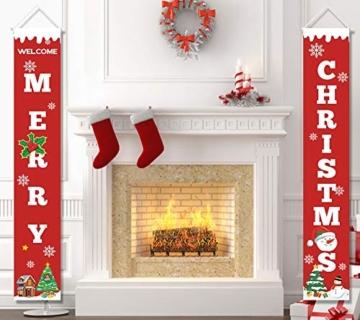 heekpek 2 Pezzi Banner di Natale Benvenuto Buon Natale Portico Segno Banner Distico di Natale Casa Porta Benvenuto Natale Porta Decor Outdoor Indoor Decorazioni Natalizie - 3