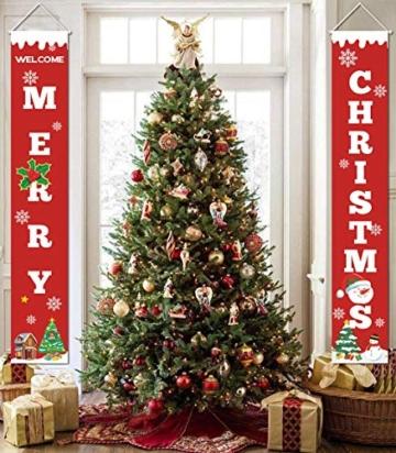 heekpek 2 Pezzi Banner di Natale Benvenuto Buon Natale Portico Segno Banner Distico di Natale Casa Porta Benvenuto Natale Porta Decor Outdoor Indoor Decorazioni Natalizie - 4