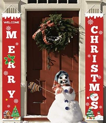 heekpek 2 Pezzi Banner di Natale Benvenuto Buon Natale Portico Segno Banner Distico di Natale Casa Porta Benvenuto Natale Porta Decor Outdoor Indoor Decorazioni Natalizie - 1