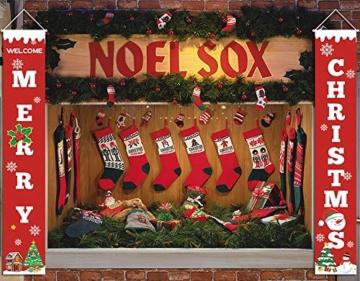 heekpek 2 Pezzi Banner di Natale Benvenuto Buon Natale Portico Segno Banner Distico di Natale Casa Porta Benvenuto Natale Porta Decor Outdoor Indoor Decorazioni Natalizie - 7