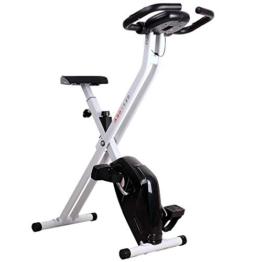 homcom Cyclette Magnetica Pieghevole con Schermo LCD, Intensità e Sellino Regolabile, Bianca e Nera, 83x43x110cm - 1
