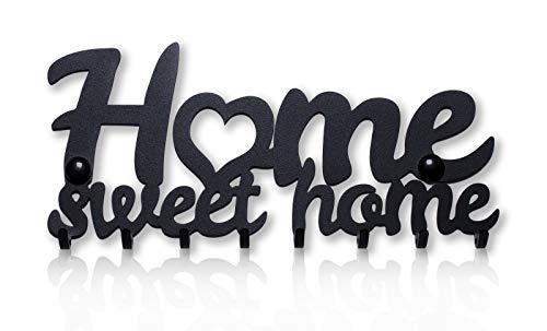 Home Sweet Home Portachiavi da Muro (8- Ganci) Decorativo, Ganci in Metallo per Porta d'ingresso, Cucina, Garage | Organizza le Chiavi di Casa, Lavoro, Macchina, Veicoli | Arredamento Vintage8 - 1